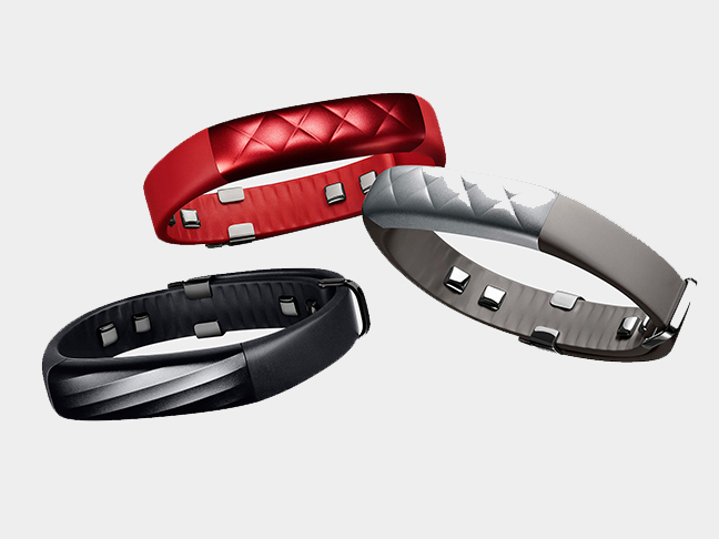jawbones pedometers in red black and silver