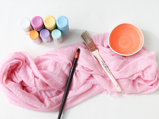 Supplies for Watercolor Scarf