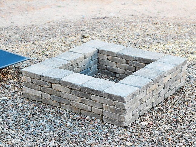 gray square fire pit
