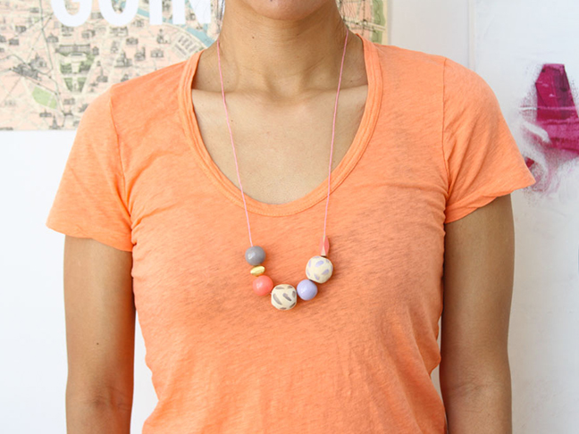 How to make a long, beaded necklace in minutes.