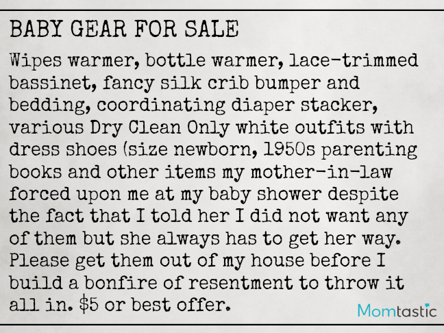 Want Ads Moms Would Love to Make on @ItsMomtastic by @letmestart | Baby Gear For Sale Funny Want Ads for parents and LOLs for moms