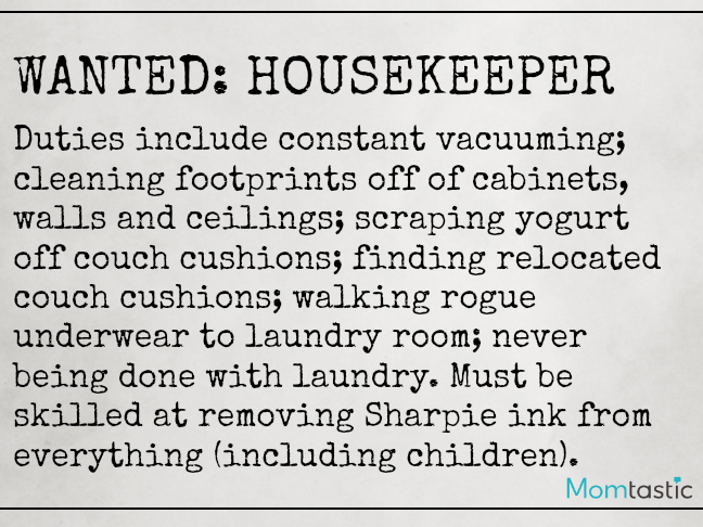 Want Ads Moms Would Love to Make on @ItsMomtastic by @letmestart | Housekeeper Wanted Funny Want Ads for parents and LOLs for moms