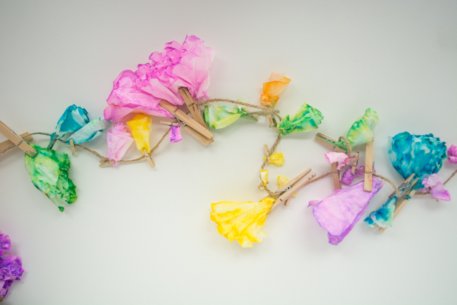 colorful paper flowers clothespins