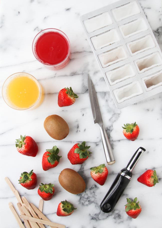 Ingredients for Strawberry Kiwi Popsicles