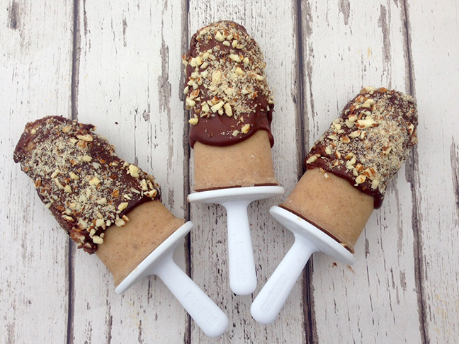 peanut butter banana chocolate popsicles