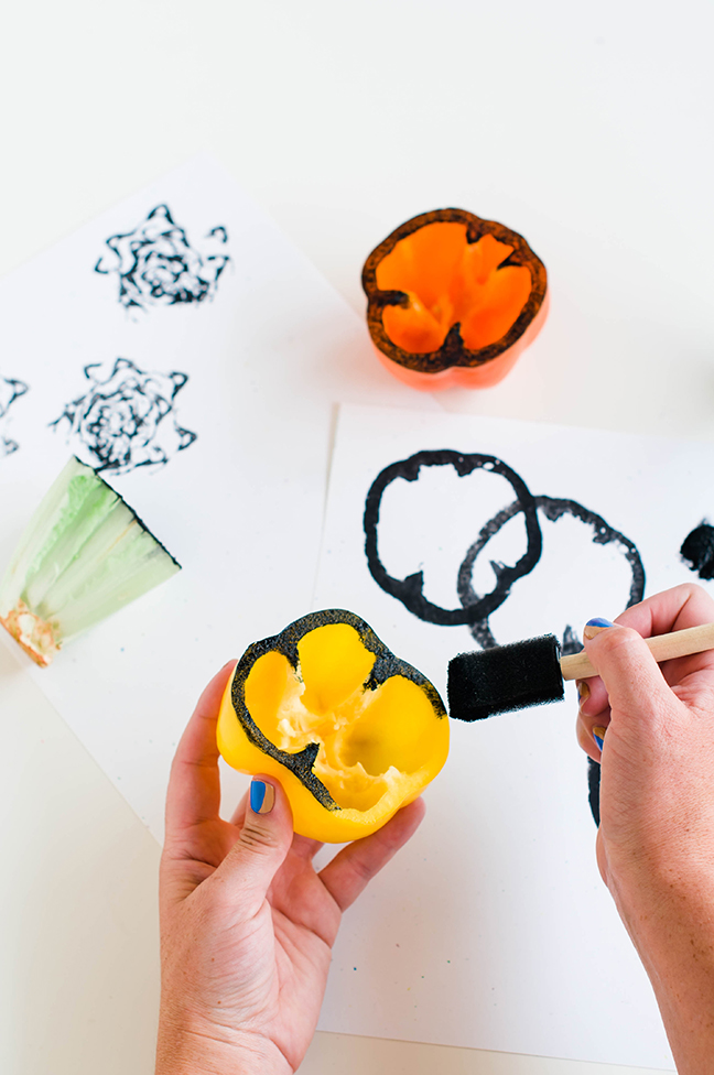 painting bell pepper stamps