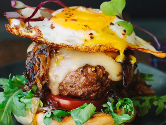 burger topped with fried egg