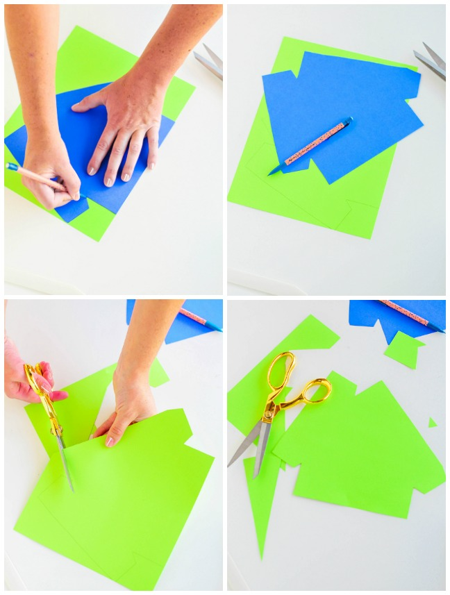 tracing and cutting bright paper in triangles