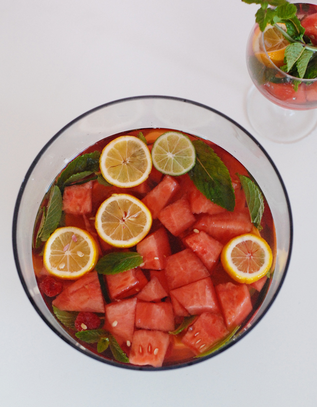 rose sangria punch bowl watermelon oranges
