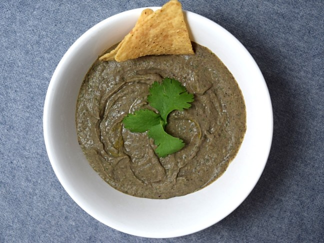 black bean hummus in white bowl