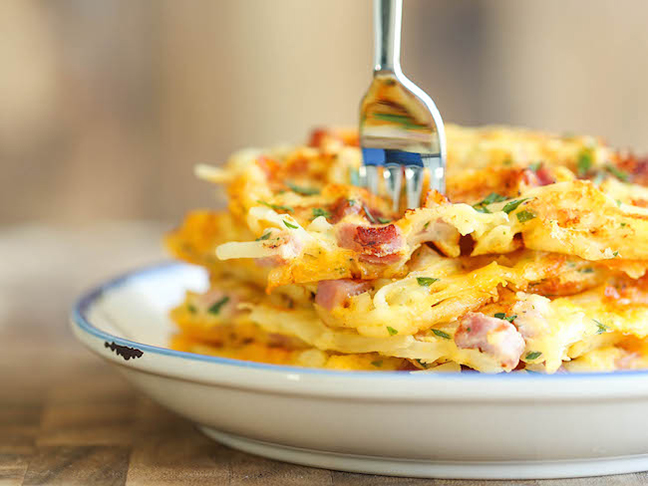 ham and cheese hashbrown waffles