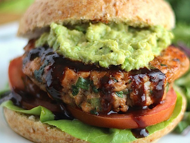 asian burger with guacamole