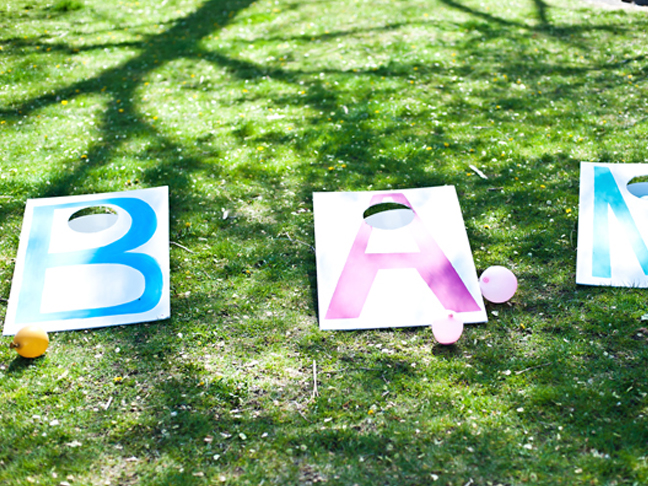 diy cornhole game with letters