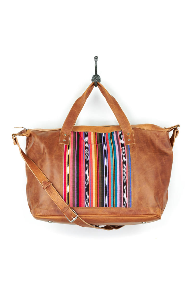 leather and fabric weekender bag