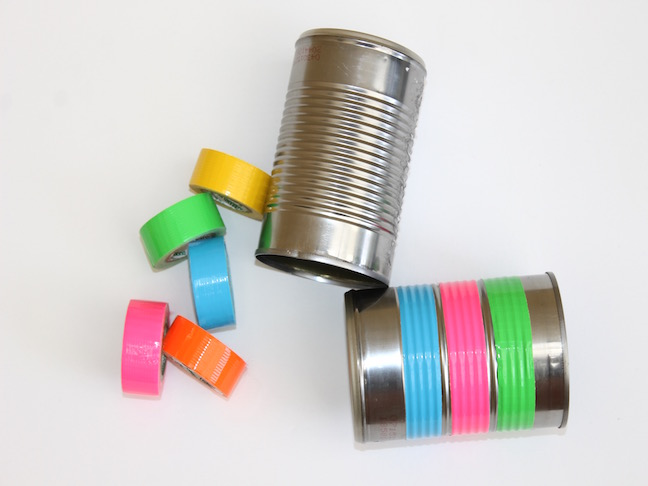 tin cans with bright duct tape