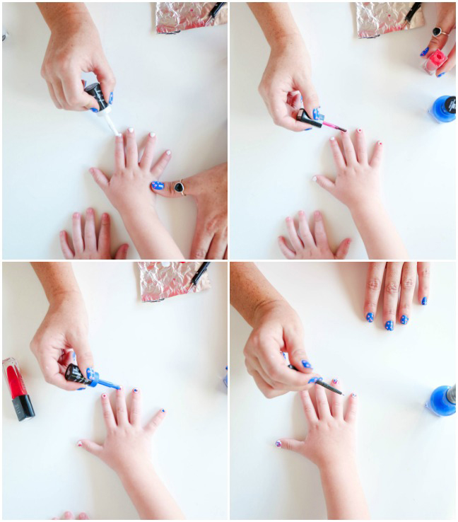 painting daughter's nails red white and blue