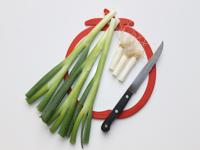 green onions with tips cut