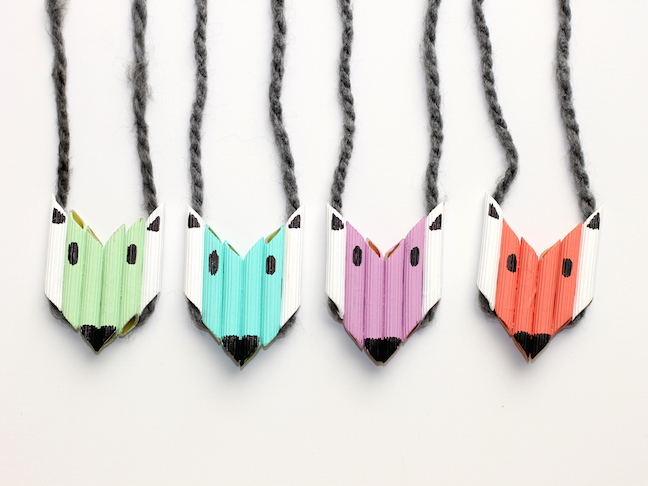colourful fox pasta necklaces how-to