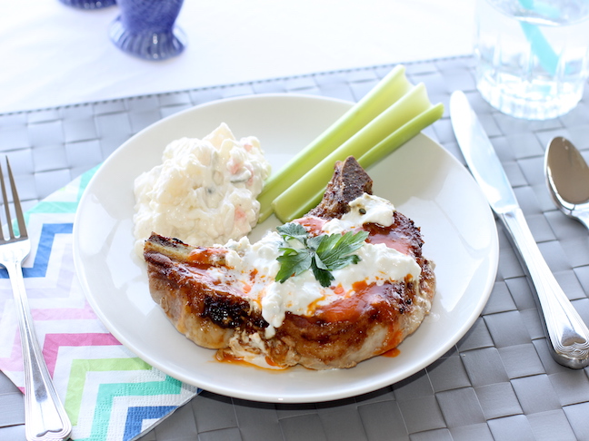 buffalo cheese pork chops