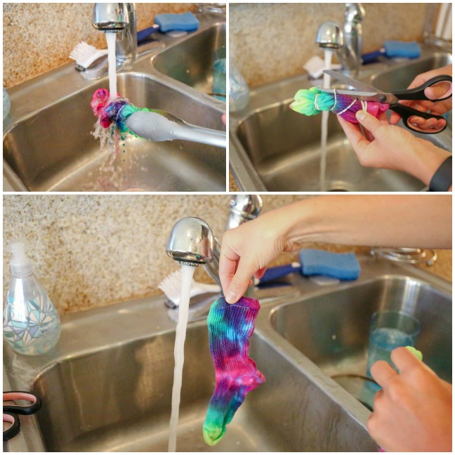rinsing tie dyed socks in kitchen sink