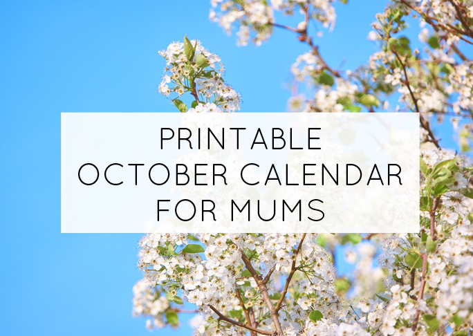 October printable calendar for mums - free printable