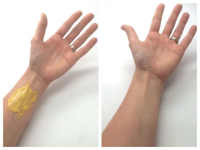 turmeric paste on arm