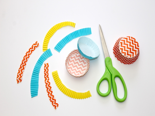 bright colorful cupcake liners cut in strips