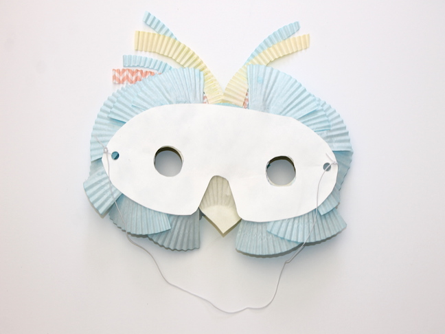 paper plate bird mask with elastic strap