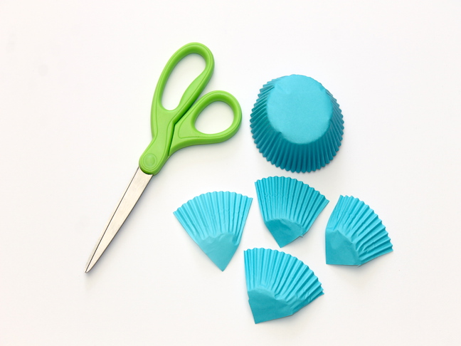 blue cupcake liner cut in fourths