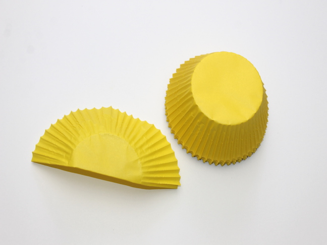 yellow cupcake liner folded in half