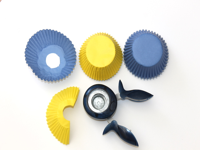 cupcake liners punched with holes