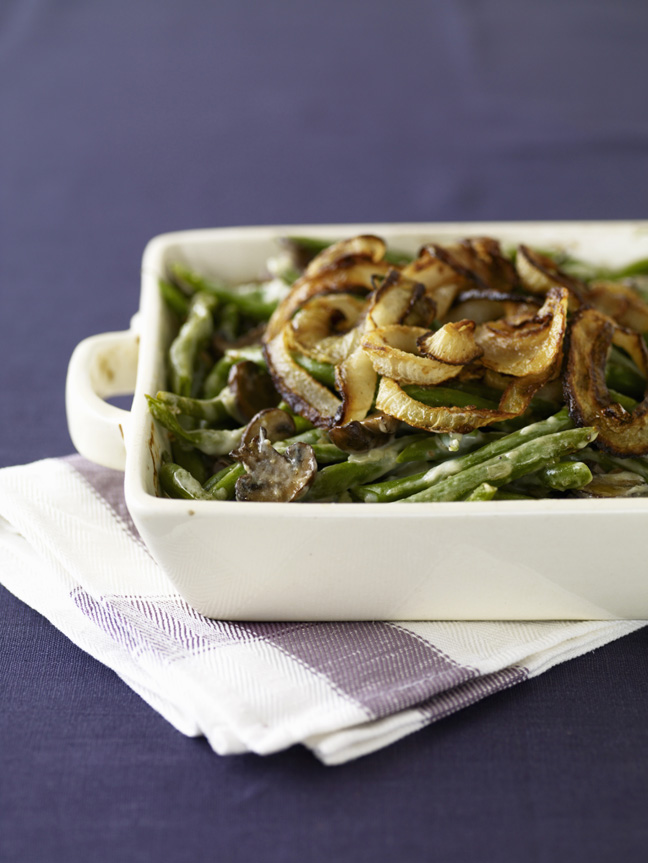Green bean casserole with onion and mushroom