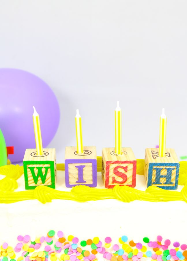 wish birthday cake letter block birthday candles
