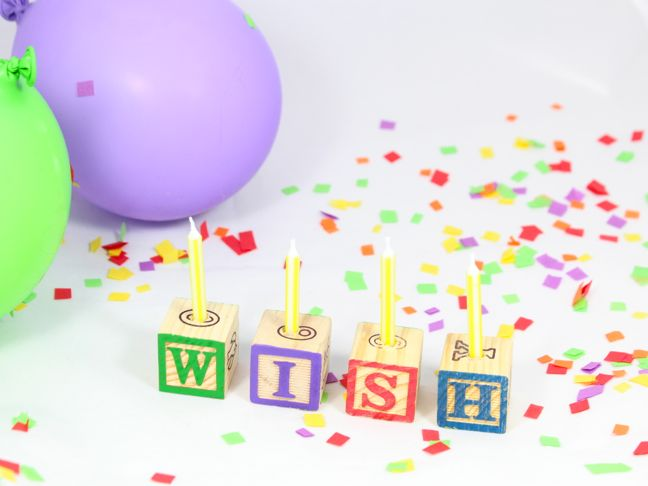 wish letter block candles confetti