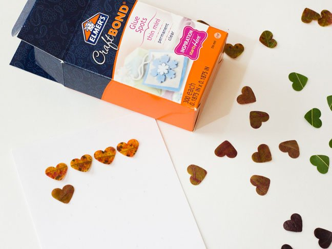 craft bond glue punched hearts