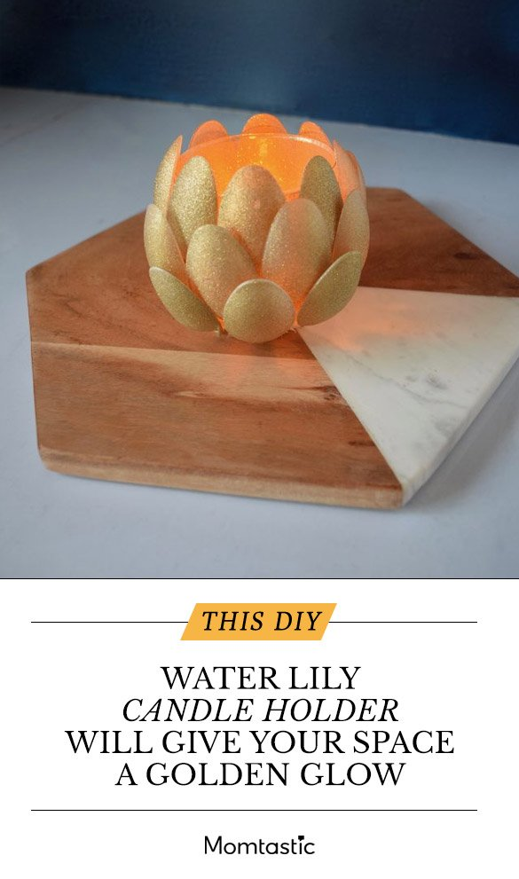 This DIY Water Lily Candle Holder Will Give Your Space A Golden Glow