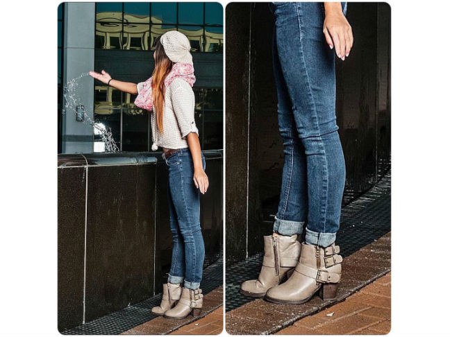 beige ankle boots with rolled up skinny jeans