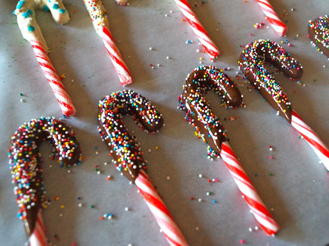 candy canes-red-white-chocolate-multi-colored sprinkles