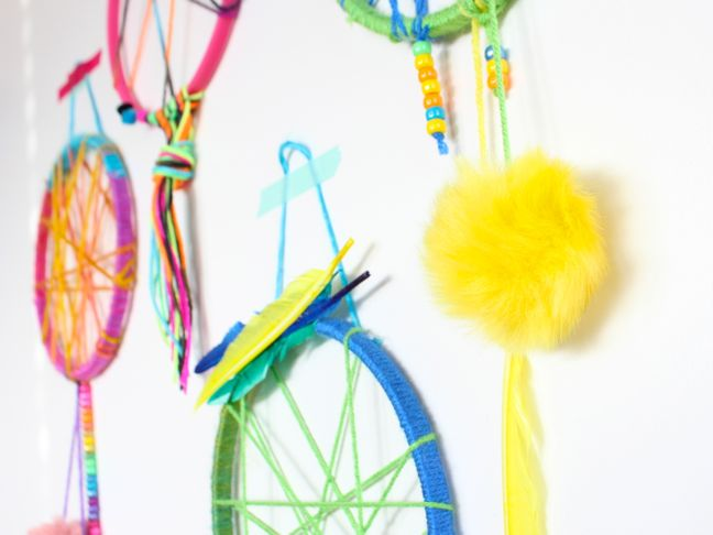 colorful-pink-yellow-blue-green-dream-catcher-for-kids-pom-poms-feathers