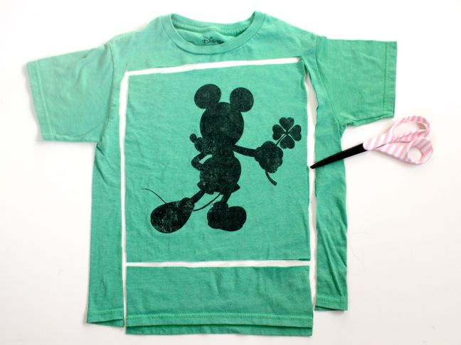 green-mickey-mouse-t-shirt-cut-in-a-square