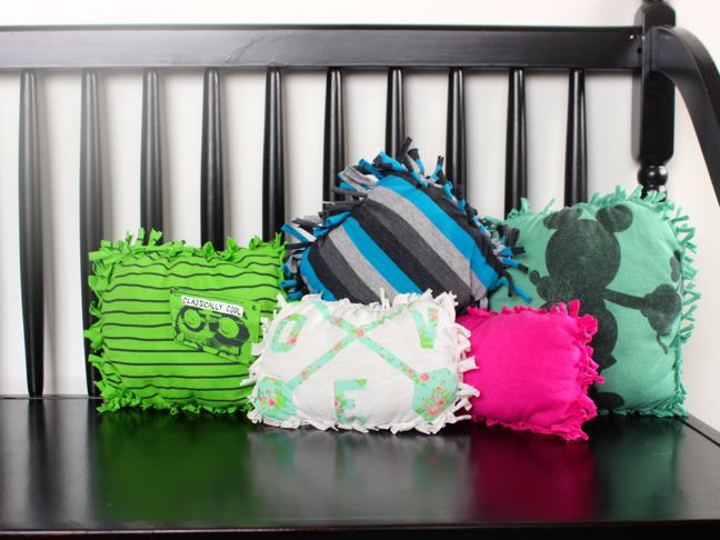 pink-green-striped-diy-pillows-on-a-bench