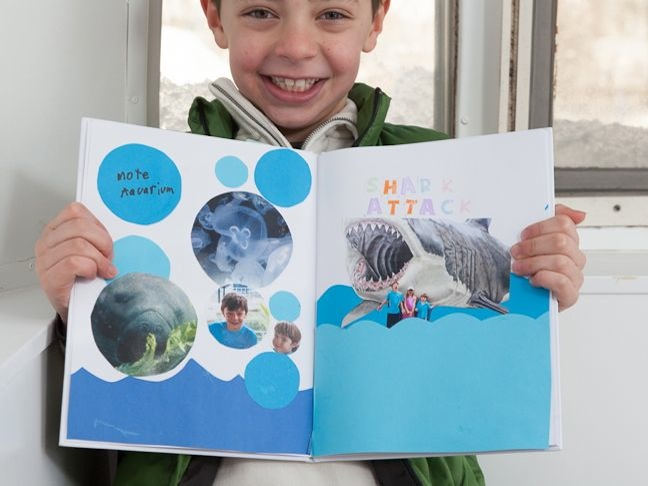 scrapbook-with-bubbles-photos-and-a-shark-picture
