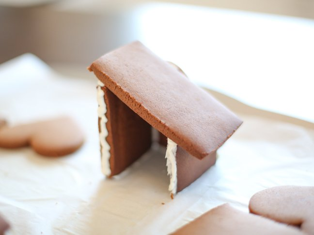 Half-assembled gingerbread house for Valentine's Day