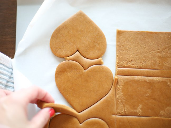 Removing excess gingerbread dough