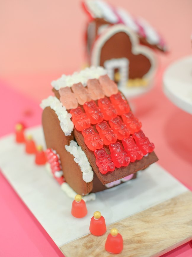 Valentine gingerbread house with gummy bear roof