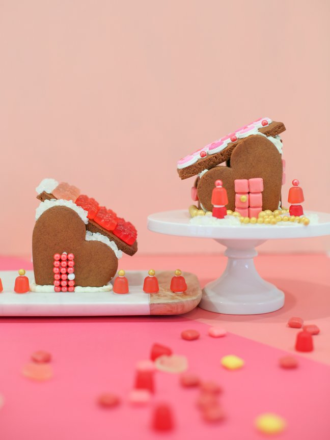 Two Valentine gingerbread houses