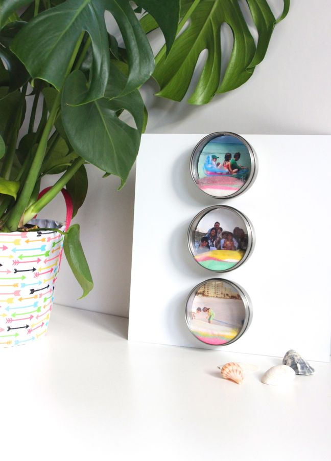 colorful-pink-yellow-sand-art-diy-round-photo-frame-tropical-plant-seashells