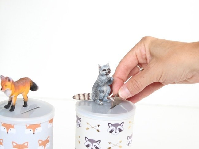 hand-putting-money-in-a-diy-piggy-bank-with-raccoon-toys
