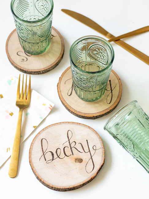 Make Double-Duty Wood Burned Place Cards to Gift as Coasters