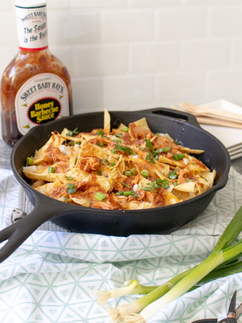 Skillet BBQ Chicken Nachos are the Easiest Game Day Snack
